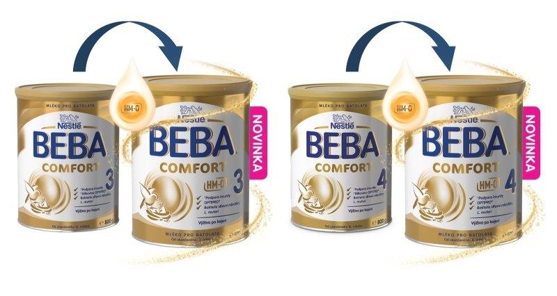 Objevte novinku BEBA COMFORT 3 HM-O, a BEBA COMFORT 4 HM-O. Zdroj: Nestlé.